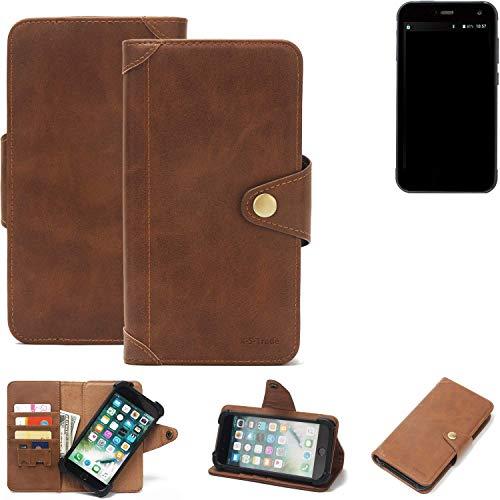 K-S-Trade® Handy Hülle Für Cyrus CS 28 Schutzhülle Walletcase Bookstyle Tasche Handyhülle Schutz Case Handytasche Wallet Flipcase Cover PU Braun (1x)