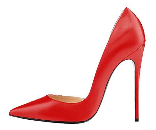 Guoar High Heels Große Größe Damenchuhe D'Orsay&Two-Piece Spitze Zehen Mehrfarbig Stiletto Pumps Büro-Dame Party Hochzeit B-Rot PU