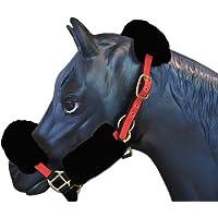 ENGEL GERMANY Protector de la nariz caballo (cabezada / cabestros) piel de cordero negro (Nase)
