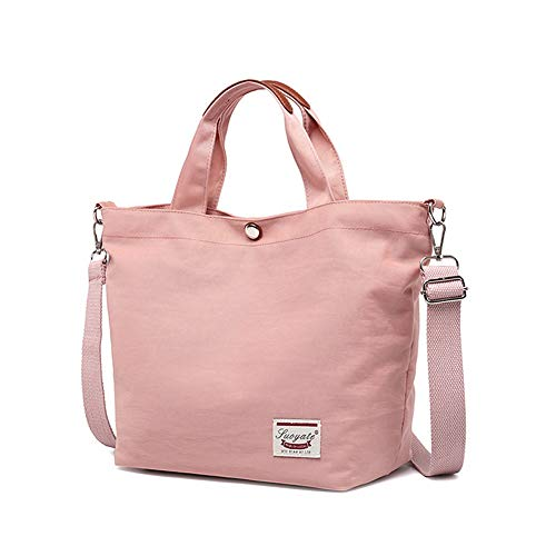Nlyefa Damen Kleine Handtasche Shopper Einkaufstasche Nylon Umhängetasche Schultertasche für Shopper Alltag, EINWEG Rosa Tasche