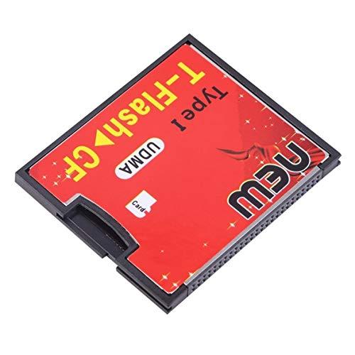 Noradtjcca Rot & Schwarz 4,3 x 3,5 x 0,4 cm Ausgestattet mit Push-Push-Buchse T-Flash auf CF-Typ 1 Compact Flash-Speicherkarte UDMA-Adapter Bis zu 64 GB -