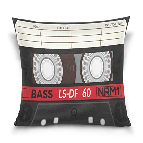 Throw Pillow Case Decorative Cushion Cover Square Pillowcase, Retro Plastic Audio Cassette Music Sofa Bed Pillow Case Cover(18x18inch) Twin Sides Audio-cover