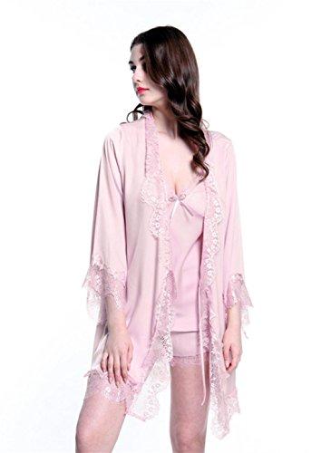 Marcus R Caveggf Frauen Nachtwäsche Sexy Dessous Set Satin Spitze 3 Stück Cami Weste Und Elastische Schlüpfer Shorts Pyjamas, XL [120-135 kg] -