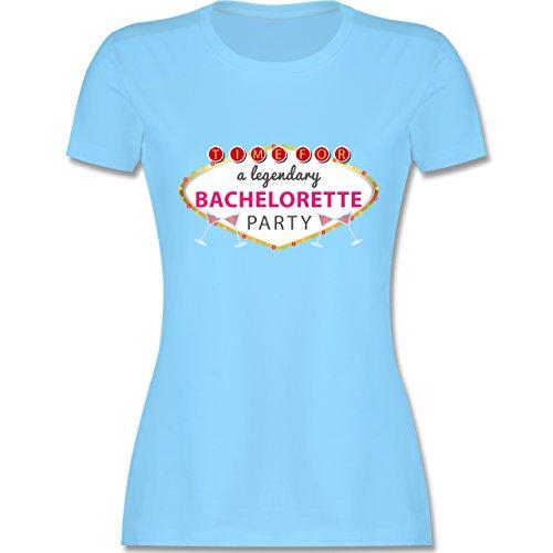 JGA Junggesellinnenabschied - Bachelorette Party Schild - tailliertes Premium T-Shirt mit Rundhalsausschnitt für Damen Hellblau
