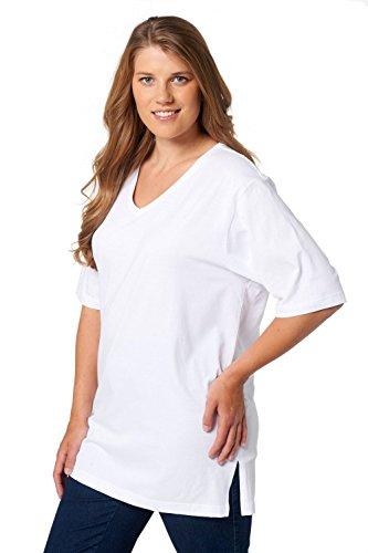 Ulla Popken Große Größen Damen T-Shirt, V-Ausschnitt, Weiß (Weiss 20), 50/52