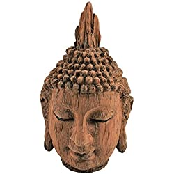 Efecto madera cabeza de Buda escultura adorno Interior Decoración del hogar Casa Choza®, 24cm