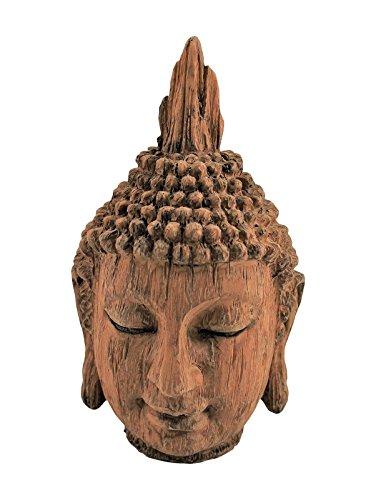 Skulpturen Home Decor (Holz Effekt Buddha Kopf Skulptur Ornament innen Home Decor 24cm hoch Home Hütte ®)