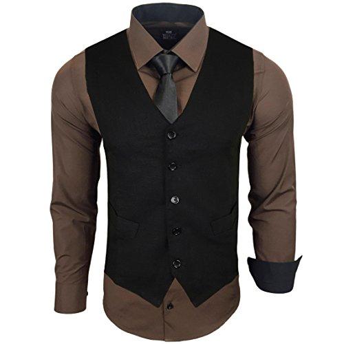 Rusty Neal Herren Anzug Weste Anzugsweste Sakko Weste Wählbar mit Hemd RN-44-HWK, Farbe:Braun;Größe:3XL