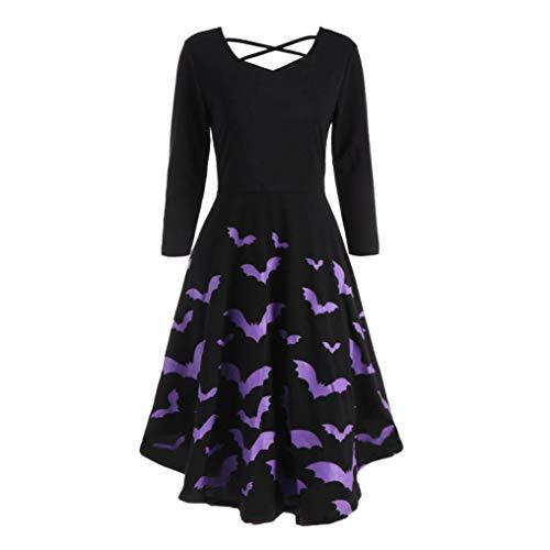 Damen Kleid, Malloom Frauen Langarm Hollow Halloween Fledermaus Print Flare Kleid Party Casual Kleider langes hülsen o-Neck Langarm Pullove Kleid