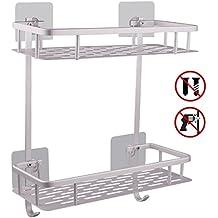 Hawsam Sin necesidad de taladrar estante ducha, Estantes de baño de aluminio espacial perforado entramado de baño muebles de baño