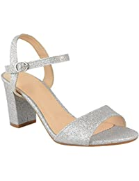 Heelberry® Ladies Womens Low Block Heel Party Bridal Glitter Sandals Wedding Prom Shoes SZ