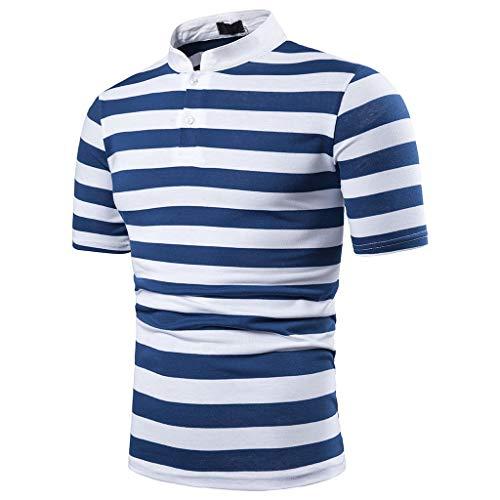 Allegorly Herren Poloshirt Gestreiftes Hemd Basic Slim Fit Kurzarm Polohemd Männer Freizeit Stehkragen T-Shirt Sommer Sport Trikot Oberteile Tops -