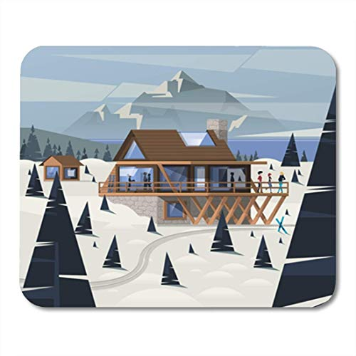 HOTNING Gaming Mauspads, Gaming Mouse Pad Ski Mountain Wood Cabin Chalet Forest House Resort Winter Alpine 11.8