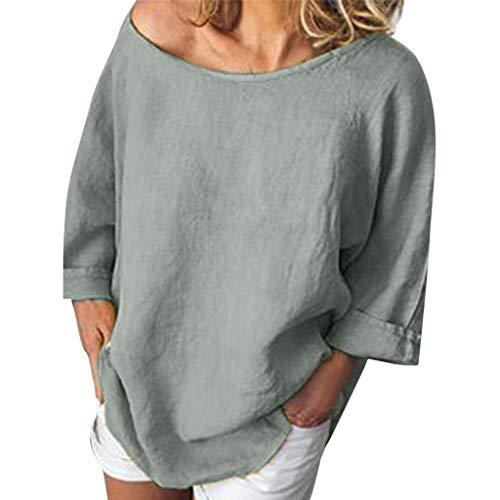 Mime Kostüm Shirts Für - iYmitz 3/4-Arm Damen Streetwear Einfarbig Rundausschnitt Leinen Frauen Freizeit Bluse Sommer Freizeithemd(Z5-Grau,EU-38/CN-M)