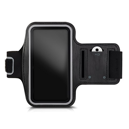 Kwmobile, fascia da braccio sportiva con scomparto chiavi per smartphone, nero