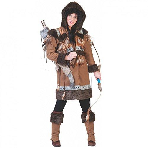Eskimo Frau Kostüm - Kostüm Eskimo Frau Nalu Gr. 36- 46 Kurzmantel Stulpen braun Indianerin Karneval