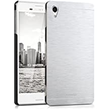 kwmobile Funda para Sony Xperia M4 Aqua - Cover trasero para móvil de aluminio - Case duro plata