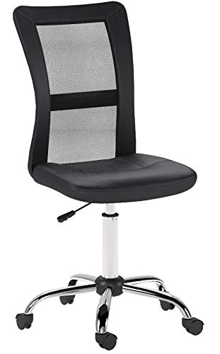 Relaxdays Bürostuhl, höhenverstellbarer Drehstuhl, ergonomisch, bequem, 90 kg belastbar, HBT: 102 x 55 x 55 cm, schwarz