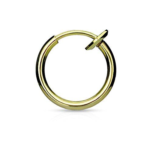 Bungsa® Gold Fake Piercing-Ring gold/schwarz/silber/roségold Edelstahl Chirurgenstahl mit Spring Verschluss (für Fake Septum Nasenpiercing Zunge Lippe Ohrstecker No Non Piercing (Fake Diamant Ohrringe)