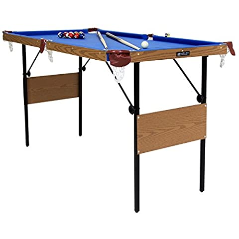 Charles Bentley 4Ft 6 Inch Blue Pool Games Table With