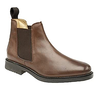 Mens Roamers Leather Chelsea Boots Cushioned lining Brown size 6