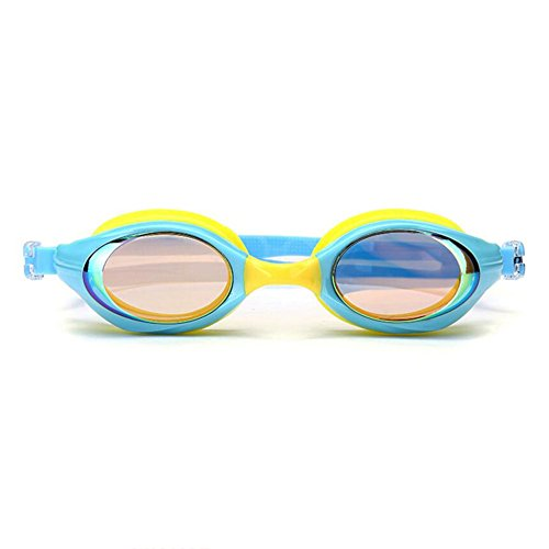 Sunny Honey Kind-Schwimmen-Schutzbrillen-Wasser-Sport HD Anti-Fog Und Wasserdicht Kids Mädchen Kinder (Farbe : Gelb)