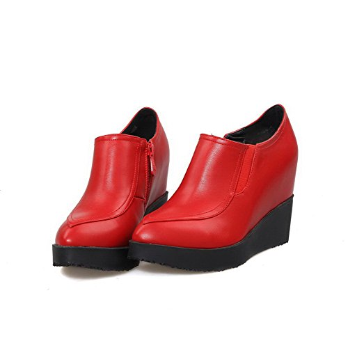 AllhqFashion Femme à Talon Haut Matière Souple Couleur Unie Zip Pointu Chaussures Légeres Rouge