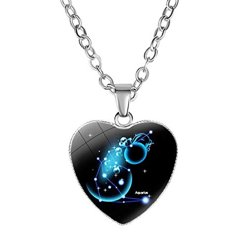 Sasavie Kind Mädchen Halskette mit Herzanhänger Tierkreis-Sternzeichen Kristallglas Multi GrafikenWassermann
