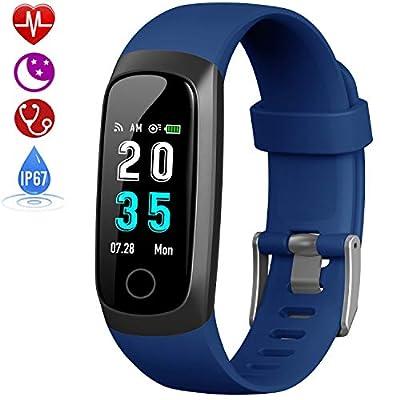 HETP Fitness Tracker, Heart Rate Activity Tracker Fitness Wristband Smart Watch Waterproof IP67 Blood Pressure Smart Bracelet with Stopwatch Sport GPS Sleep Monitor Pedometer Calorie Women Men from HETP