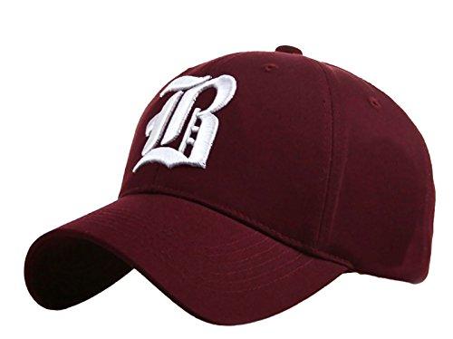4sold Unisex Damen Herren Baseball Cap Caps Gothic Letter B Hüte Mützen Snap Back Hat Hats Fanny (B Dark red)