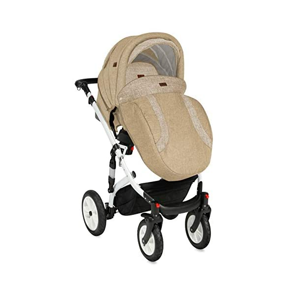 Lorelli Mia 3 in 1 Pneumatic tyre Pushchair, car seat, Baby Bath, Sports seat, Colour:Beige Lorelli matching easy to assemble car seat, baby bath, sports seat, mosquito protection, rain cover and diaper bag included in the scope of delivery Pneumatic tires (rubber tires) and suspension for easier driving easily foldable - adjustable and extendable sunroof with window and bag 4