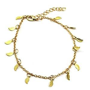 GGG Doré chaîne de cheville feuilles bracelet de cheville