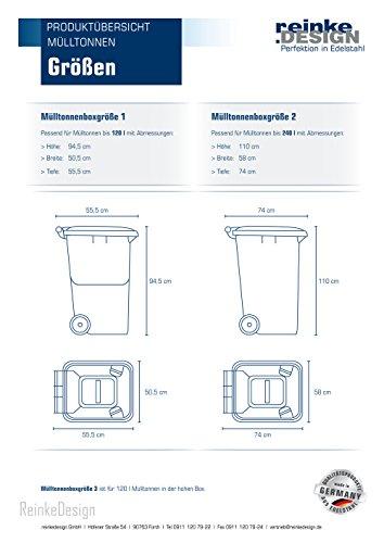 Mülltonnenbox aus Edelstahl mit Pflanzenwanne 2x120L und 1x240L - 2