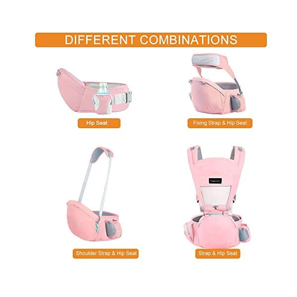 Azeekoom Baby Carrier, Ergonomic Hip Seat, Baby Carrier Sling with Fixing Strap, Bibs, Shoulder Strap, Head Hood for Newborn to Toddler from 0-36 Month (Pink) Azeekoom 【More Ergonomic】 - Baby carrier for newborn has an enlarged arc stool to better support the baby's thighs, the M design that allows the knees to be higher than the buttocks when your baby sits, is more ergonomic.The silicone granules on the stool provide a high-quality anti-slip effect that prevents the baby from slipping off the stool. 【Various Methods of Carrying】- There are 5 combinations of ergonomic baby carrier and a variety of ways to wear them.Hip Seat/Fixing Strap + Hip Seat/Shoulder Strap + Hip Seat/Strap + Hip Seat/Strap, 5 combinations to meet your needs.Fixing Strap frees your hands and prevent your baby from falling over the stool.The shoulder straps reduce the burden on your waist and make you more comfortable. 【More Comfortable】 - The baby carrier is made of high quality cotton fabric with 3D breathable mesh for comfort and coolness. The detachable sunshade provides warmth in winter and fresh in summer. The detachable cotton slobber allows you to Easy to change. At the same time, the zip closure is designed for easy removal and cleaning. 4
