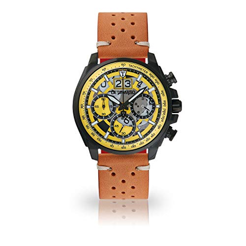 DETOMASO LIVELLO Mens Wristwatch Chronograph Analogue Quartz Brown Vintage Racing Leather Strap Yellow dial DT2060-A-844