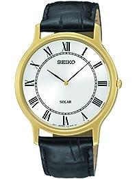 Para hombre/MANS Seiko Solar Reloj con funda de acabado de oro y negro correa de piel. SUP878P9