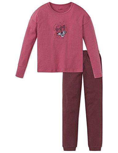 Schiesser Rebel Mädchen Anzug lang Zweiteiliger Schlafanzug, Rot (Malve 525), 140 (Herstellergröße: XS)