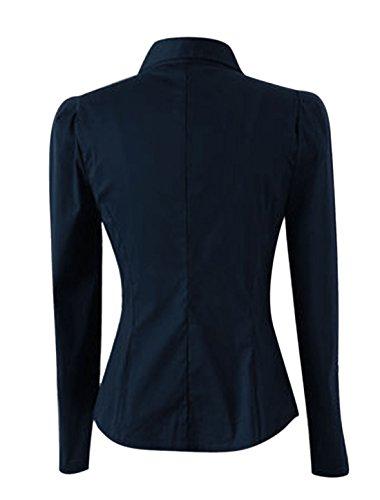 Allegra K Femme Manches Longues Boutons Manchettes Déco Chemise Bleu Marine