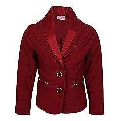 Cutecumber Girls Ribbed Knit Embellished Maroon Coat AM-CC876A-MAROON-20