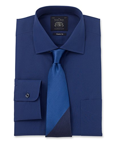 Savile Row Men's Navy End On End Classic Fit Single Cuff Shirt Navy