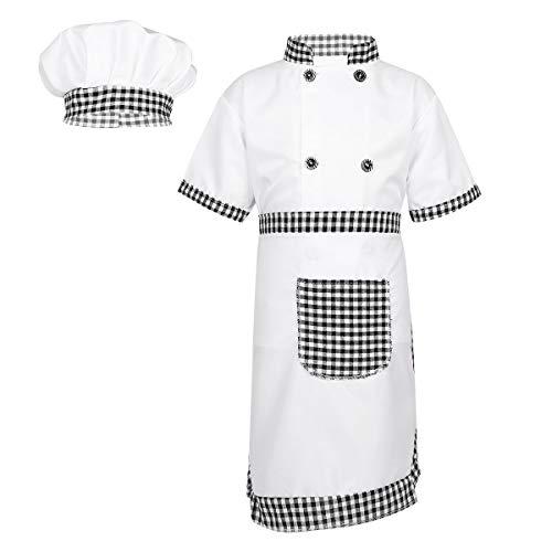 Tiaobug Jungen Mädchen Koch Bäcker Kostüm 4er Set aus Kochjacke Kochschürze Kochmütze Küche Gastronomie Uniform Beruf Outfits Verkleidung Grau 104-110/4-5 Jahre