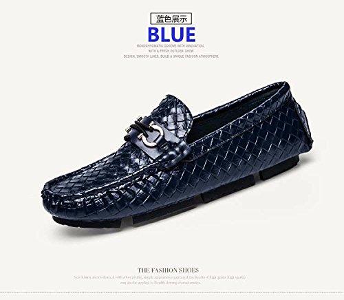 Les Chaussures En Cuir Tressé Chaussure En Cuir Respirable Chaussures Glisse Sur La Pédale Avec Doug L'Acné Blue
