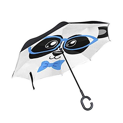 CYHWDHW Brille Panda Big Black Regenfest Direct Car Golf Reverse Inverted Schirmständer mit C-Griff,1