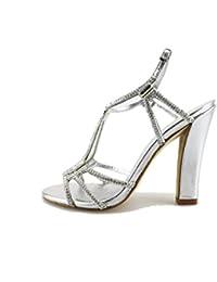 LOLA CRUZ Sandalias mujer plata Textil strass AG307