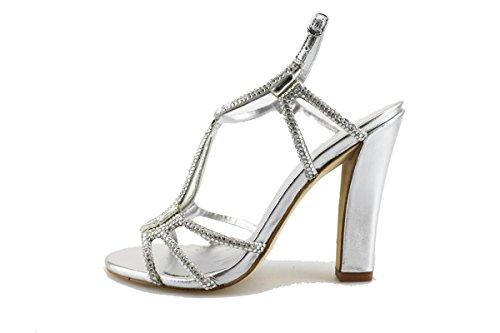 LOLA CRUZ sandali donna argento tessuto strass AG307 (38 EU)