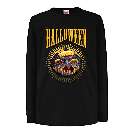 Kinder-T-Shirt mit langen Ärmeln Halloween Kürbis - Party Kostüm Ideen 2017 (7-8 years Schwarz (Gruppe Kostüm Song)