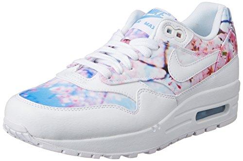 Nike Wmns Air Max 1 Print, Chaussures de Sport Femme Blanc Cassé - Blanco (White / White-University Blue)