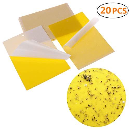 20 pcs trappole appiccicose per parassiti delle piante, contro insetti nocivi, rotoli di carta moschicida cattura insetti trappola per mosche con adesivi gialli prodotto ecologico atossico 7.8''x5.9''