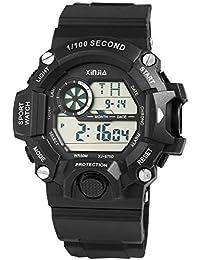 Xinjia - Reloj Digital de Pulsera para Hombre (Silicona, Cuarzo, con Alarma,