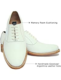 ASM Handmade Goodyear Welted White Derby/Oxford Dress Leather Shoes With Argentina Leather Sole, Leather Insole...